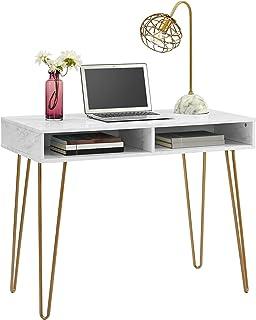 Novogratz Computer Desk With Storage, White Marble