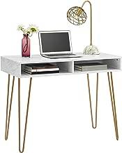 Novogratz Athena Computer Desk with Storage, White Marble