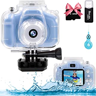 YTETCN Kids Waterproof Camera for Boys and Girls Aged 3-12, 12MP and 1080p Kids Sports Digital Camera, Underwater Kids Camera with 32GB Memory Card and Card Reader, Playback, Time-Lapse