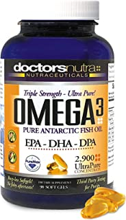 Natural Wild Omega 3 DPA Fish Oil Supplement by Doctors Nutra Nutraceuticals - 2,900 Milligrams Triple Strength Ultra Pure Concentrated, EPA-DPA-DHA, Soft-Gels with no Fish-Tasting Burps - 30 Servings
