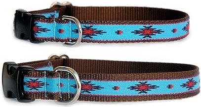 Ribbon Dog collar : Native American turquoise ribbon dog collar. Navajo, Santa Fe, Aztec, Southwestern & Native American influenced handmade hight quality designer dog collar for puppies, small dogs to large dogs. Made in the U.S.A. Size XS, S, M, L & XL