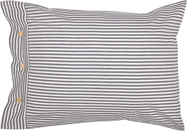 "Piper Classics Farmhouse Ticking Stripe Blue Standard Sham, 21"" x 27"", Bed Pillow Cover"