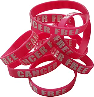 Cancer Free Silicone Rubber Wristbands for Cancer Awareness - Breast Cancer Bracelets - Breast Cancer Survivor Gifts - Adult Size Unisex Band for Fighter Patient Men Women Teens (Pink)