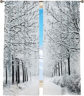 Collections Etc Scenic Window Curtains Set Winter Trees Black/White
