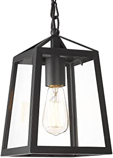 KAUEN Outdoor Pendant Light, Exterior Hanging Lantern for Porch, Textured Black Finish w/Clear Glass Panel - 2451-1H