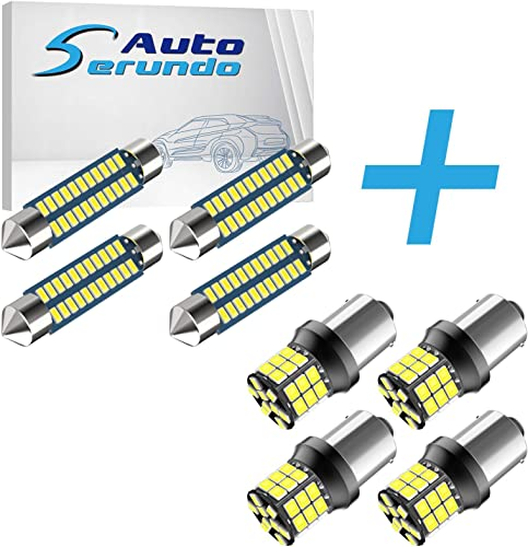 high quality Serundo Auto 4pcs 42mm 578 LED Bulbs + 4pcs 1156 Led Bulb, 211-2 LED Bulbs Used for Car Map Dome Courtesy Trunk Light wholesale and 1141 BA15S 7506 P21W Led lowest Bulbs For 12V 24V Car Back Up Reverse Tail RV lights sale