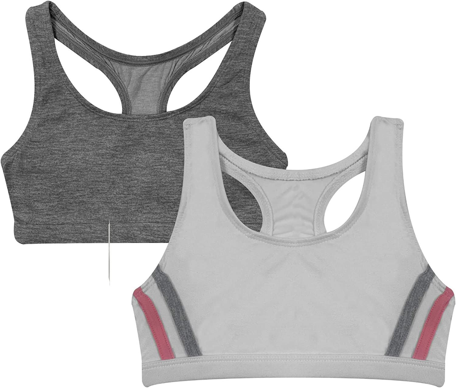 Popular Oklahoma City Mall Girl's Print and Solid cheap Racerback Sports 2 Pack Bra -