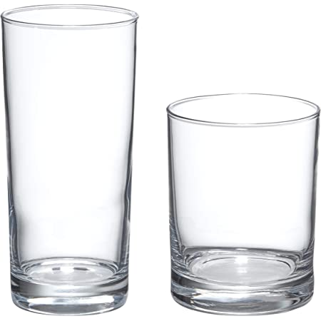 Amazon Basics Admiral 16-Piece Old Fashioned and Coolers Glass Drinkware Set
