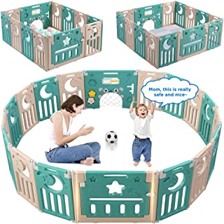 Baby Playpen, Dripex Foldable Kids Activity Centre Safety Play Yard Home Indoor Outdoor Baby Fence Play Pen with Gate for Baby Boys Girls Toddlers (14-Panel, Green + Brown)