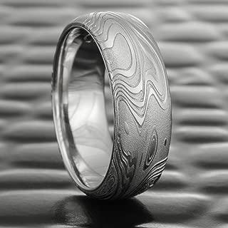 Ocean Inspired Damascus Wedding Band with Palladium Liner   TIDEPOOLS