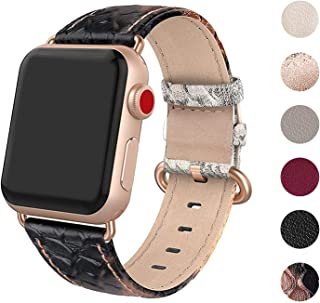 SWEES Leather Band Compatible for Apple Watch 38mm 40mm, Genuine Leather Replacement Strap Compatible iWatch Series 5 Series 4 Series 3 Series 2 Series 1, Sports & Edition Women, Black/Gold