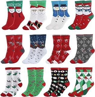 Leikance, Calcetines de Navidad, unisex para mujer, diseño de Papá Noel, muñeco de nieve, copo de nieve, tubo medio, calcetines de algodón, 12 pares