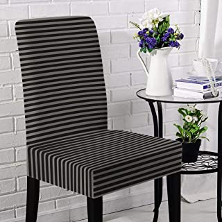 Briarwood Home Jersey Chair Slipcovers 4 Piece Set, Super Fit, Stretchy, Removable, Machine Washable Dining Room Chair Cover Set - Heather Fabric Striped - Best for Home Decoration (Oatmeal/Black)