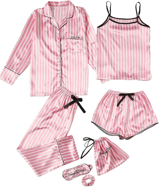 WDIRARA Women's Max 64% OFF Sleepwear Animer and price revision 7pcs Satin Cami Shirt P with Pants