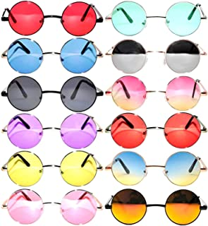 12 Round Retro Vintage Circle Tint Sunglasses Metal Frame Colored Lens Small lens