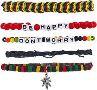 Lux Accessories Dont Worry Be Happy Rasta Weed Arm Candy Bracelet Set (5PCS)
