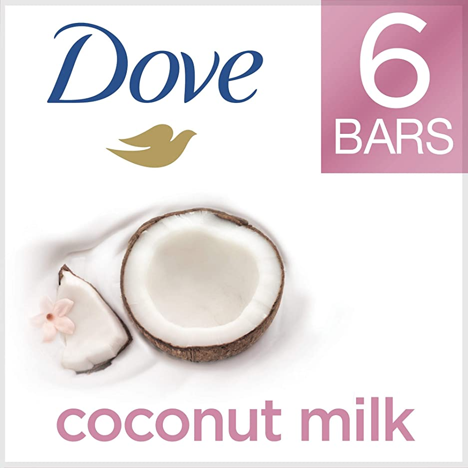 販売員クランプピアノを弾くDove ビューティーバー、ココナッツミルク、4オンス、6バー