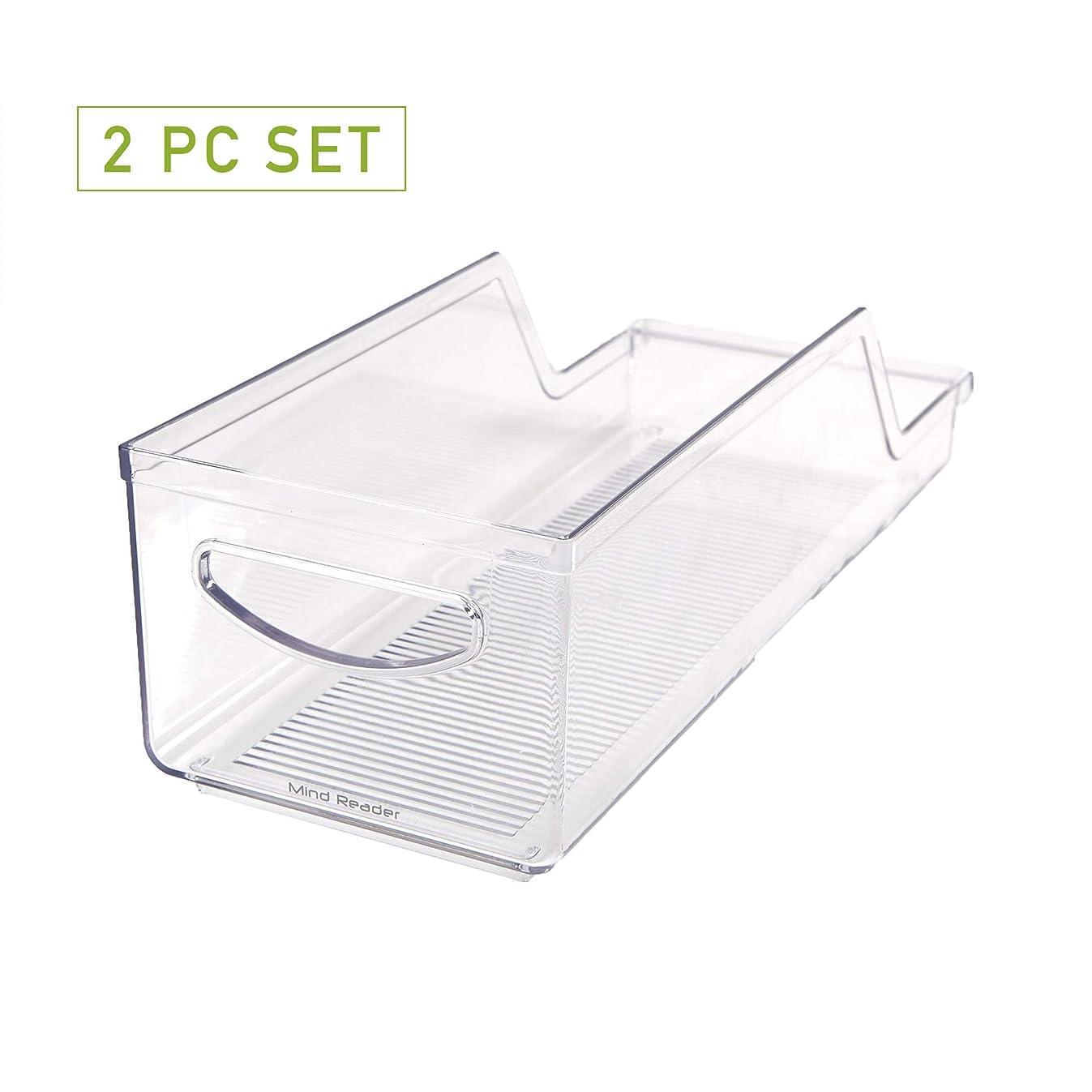 Mind Reader SCANORG2-CLR Pop/Soda Can Dispenser Storage Organizer Bin for Kitchen Pantry, Countertops, Cabinets, Refrigerator 2 Pack , Clear
