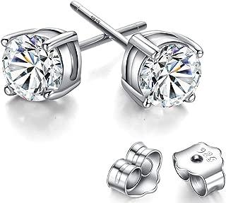 925 Sterling Silver Earrings, Nickel Free Earrings for Girls, Cubic ZirconiaStud Gold Plated Earrings for Women (5mm)