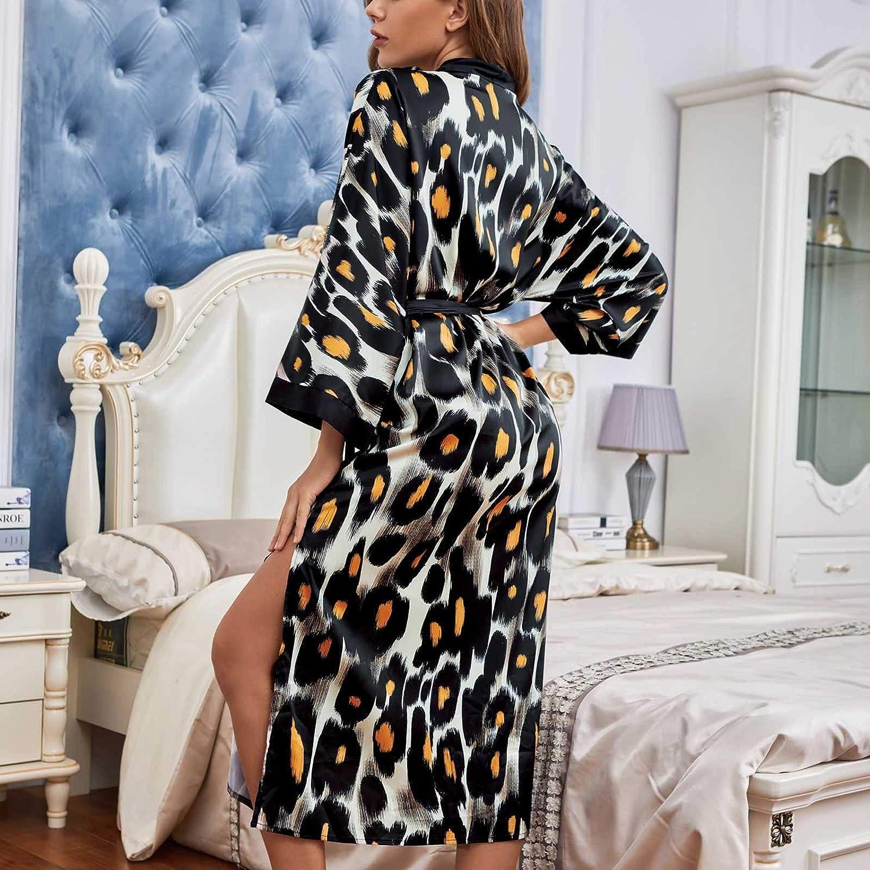 FUNEY Gift Women's Kimono Robe Long Robes with Leopard Print Side Split Satin Sleepwear Silk Bathrobe Lounge Nightgown