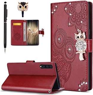 ikasus Case for Galaxy A50 Cover,Bling Diamonds Glitter Embossing Mandala Owl PU Leather Fold Wallet Flip Stand Protective Case Cover + Dust Plug & Stylus for Galaxy A50 Wallet Case,Red