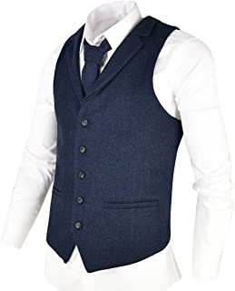 Mens Herringbone Tailored Collar Waistcoat Fullback Wool Tweed Suit Vest