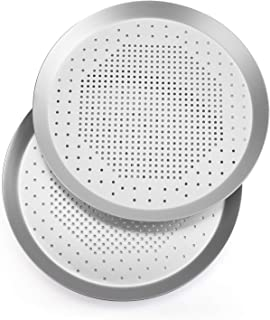 Bekith 9-Inch Pizza Pans with Holes, 2 Pack Nonstick Bakeware Pizza Tray Rouns Aluminum Pizza Baking Pan, Sliver