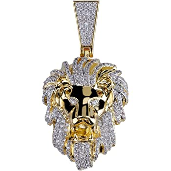 Stainless Steel Yellow Gold-Tone Iced Out Hip Hop Bling Crowned Lion Head Medallion Pendant With 1 Row Stone Tennis Chain 24 Necklace Choker Chain