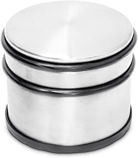 Relaxdays 10012983 Big Stainless Steel Doorstop with Protective Rubber Bands Anti-Slip & Scratch-Free, Silver