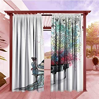 Indoor/Outdoor Print Window Curtain Music Decor Collection Grand Piano Music Butterflies Ornamental Pianist Swirls Vintage Image Pattern Energy Efficient, Darkening W72x96L Teal Green Red
