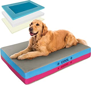 Pet Control HQ   Premium Orthopedic Dog Bed & Cooling Pad in 1 w Gel-Infused Memory Foam Therapeutic Supportive Pillow Mat...