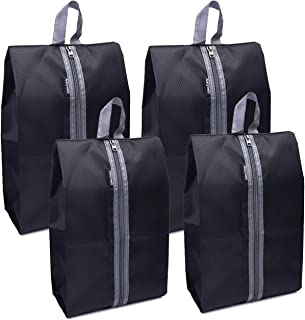 Alezywels Shoe Storage Organizer Bags Set, Waterproof Nylon Fabric with Sturdy Zipper for Traveling (4 Pack)
