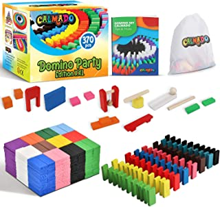 "Calmado – 370pcs Domino Stones / Dominoes Wooden ""Domino Party Edition XXL"" Set + Bag + Booklet + Accessories"