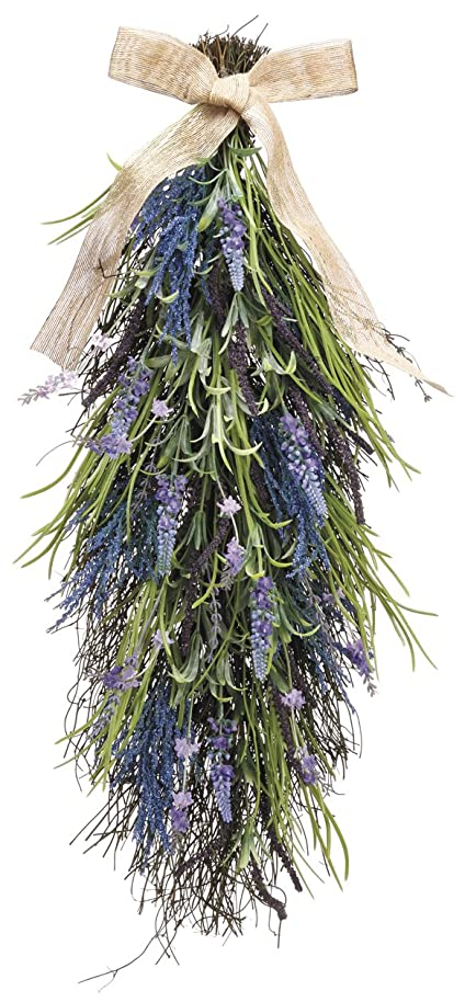 27 Inch Artificial Lavender and Wild Grasses Door Swag On A Vine Base qidpisph9142