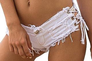Bestfort Damen Jeans-Shorts Sommer Hot Pants Bottom Nachtclub Damen fest Niedrigtaille Kurzschlüsse Gezeiten Paket Hüfte Jeans Denim-Shorts Baumwolle Jeansshorts weiß schwarz