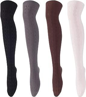 Women's 4 Pairs Knee High Thigh High Cotton Socks A1024 Size 6-9