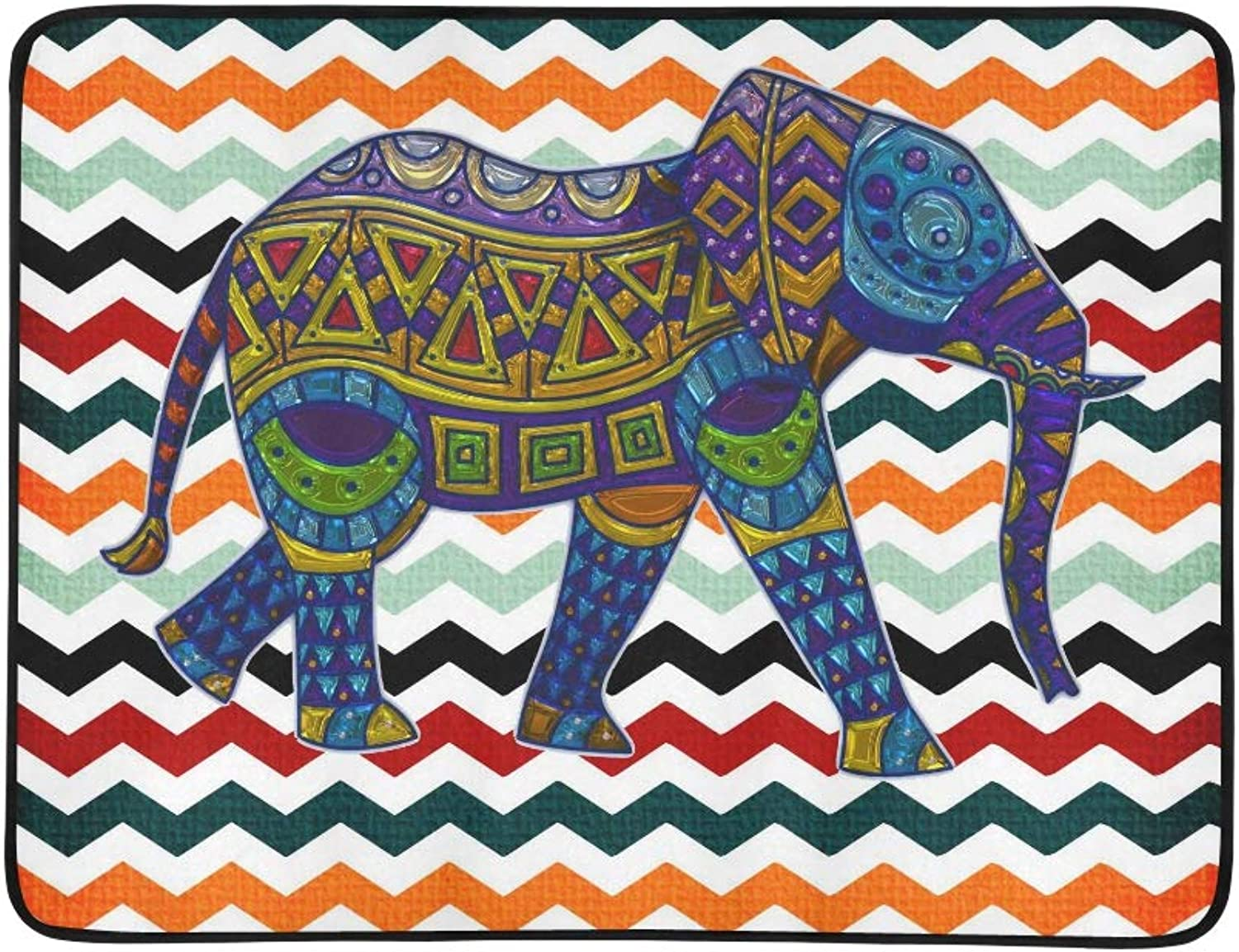 Tribal Indian Animal Elephant Chevron Pattern Pattern Portable and Foldable Blanket Mat 60x78 Inch Handy Mat for Camping Picnic Beach Indoor Outdoor Travel