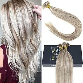 Sunny 18inch U Tip Hair Extensions Human Hair, Dark Ash Blonde to Bleach Blonde Highlight Extensions U Tip Keratin Remy Hair Extensions 1g/1s 50G