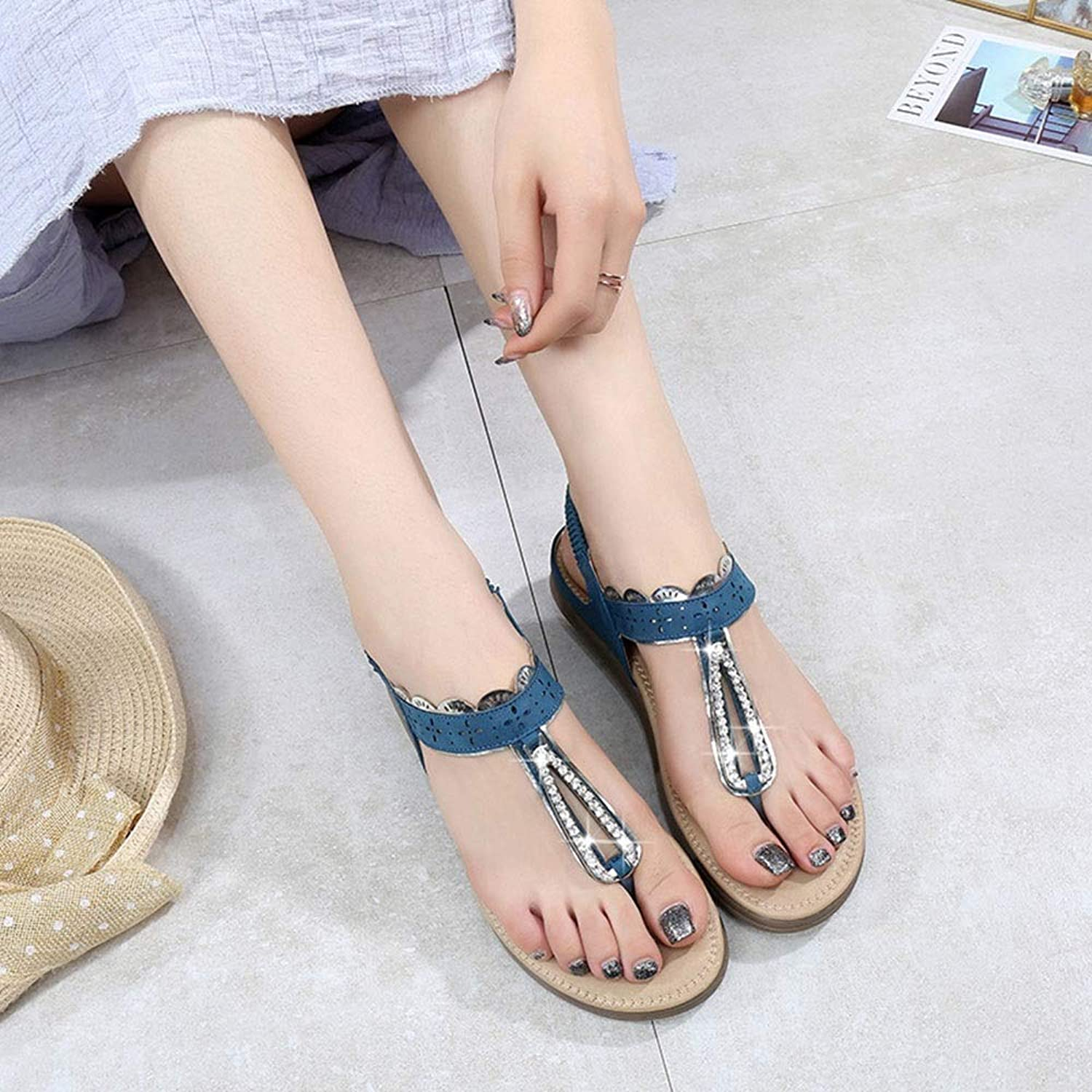 WENNEW Internal Style Sandals Flat shoes Rhinestone Vacuous shoes