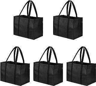 Cabilock Lot de 5 sacs de courses réutilisables - Avec poignées renforcées - Peut supporter plus de 12 kg - Extra large et...