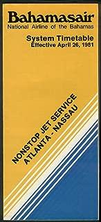 Bahamasair airline timetable 4/26 1981 Atlanta-Nassua non-stop