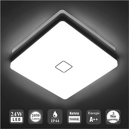 Öuesen 24W imperméable à l'eau LED Plafonnier moderne mince carré LED Lampe de plafond 2050lm Blanc froid 5000K Appli...