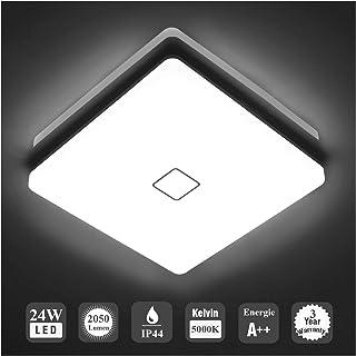 Öuesen 24W imperméable à l'eau LED Plafonnier moderne mince carré LED Lampe de plafond 2050lm Blanc froid 5000K Applicable...
