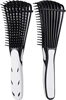 2 Pieces Detangling Brush for Afro America/African Hair Textured 3a to 4c Kinky Wavy/Curly/Coily/Wet/Dry/Oil/Thick/Long Hair, Knots Detangler Easy to Clean (Black with white)