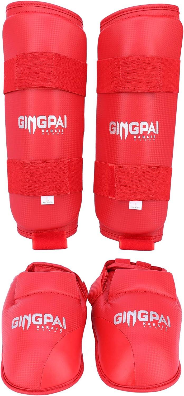 GINGPAI WKF Approved Shin Guards Karate Shin Pads Legs Protection for Kids Men Women