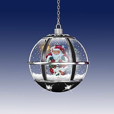Christmas Concepts® Lampe boule à neige musicale à suspendre avec lumières LED Motif Père Noël Noir et argenté 30 cm