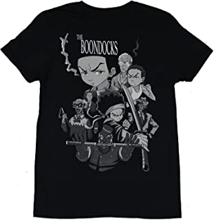 Men's Black The Boondocks Character Cast Fighting Collage T-Shirt