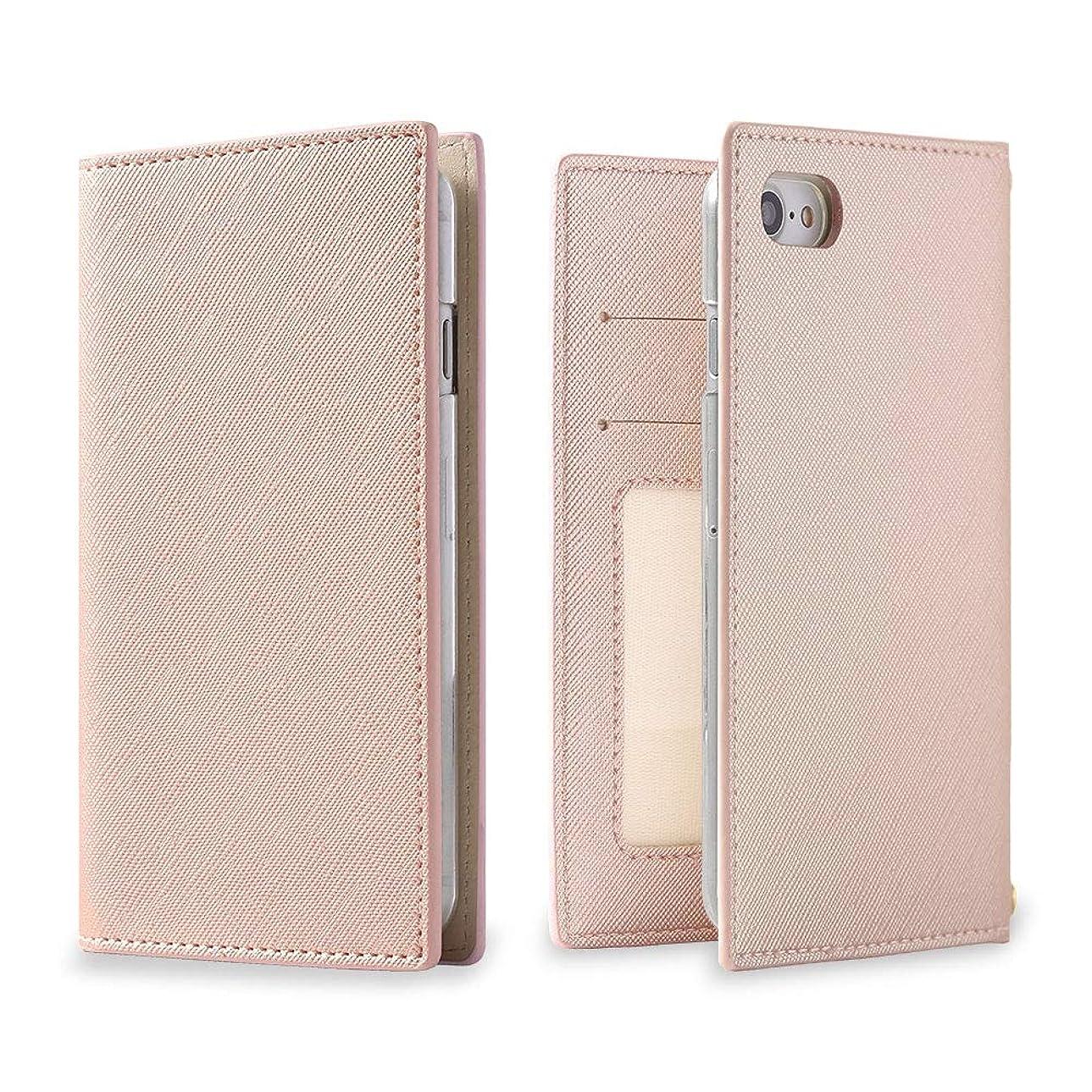 連結するモンクお誕生日iPod touch 第7世代 2019 ケース 手帳型 アイポッド スマホケース メタリックピンク シンプル