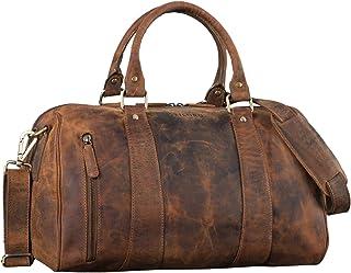 """STILORD Keanu"""" Leder Weekender Herren kleine Vintage Reisetasche zum Umhängen Handgepäck Reisegepäck in Kabinengröße echtes Rindsleder, Farbe:mittel - braun"""