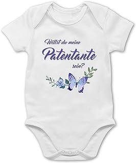 Shirtracer Strampler Motive - Willst du Meine Patentante Sein Schmetterlinge - Baby Body Kurzarm für Jungen und Mädchen